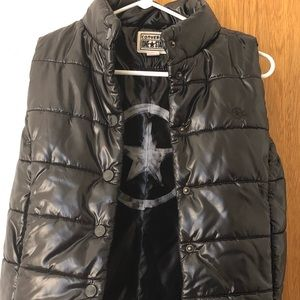 Womens Converse One Star Black Puffer Vest Small